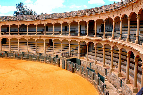 Seats in the Ronda bullring